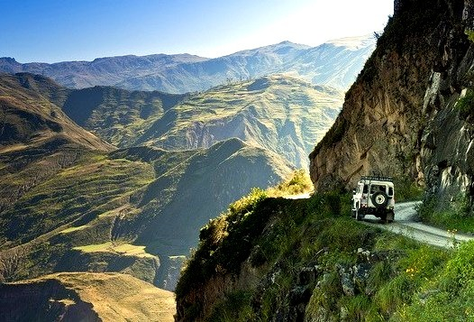 by FO Travel on Flickr.Dangerous mountain roads around Sorata in the Bolivian Andes.