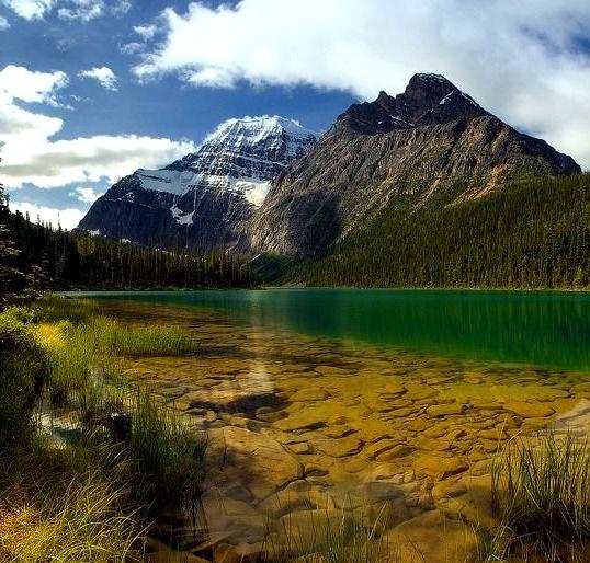 Panorama of Lake Edith Cavell in Jasper National Park, Canada