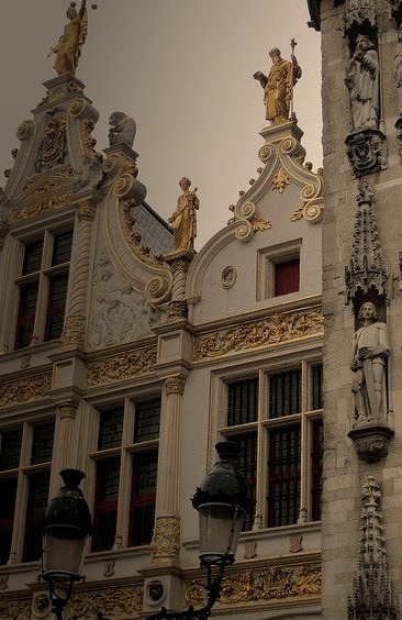 Sculpture and gilding, Stadhuis detail, Bruges, Belgium . This one is for Stephanie :)