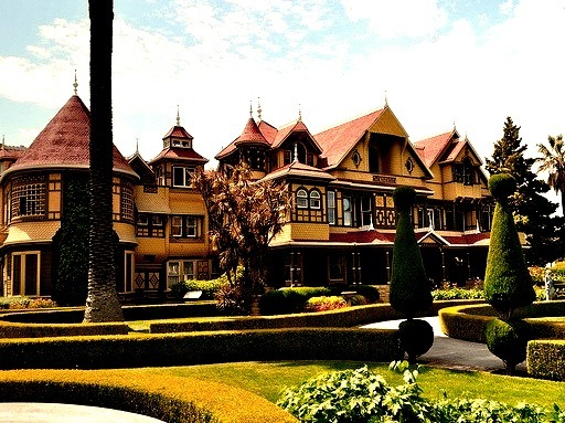 Winchester Mystery House in San Jose, California is supposedly haunted by the ghost of its eccentric builder, Sarah Winchester