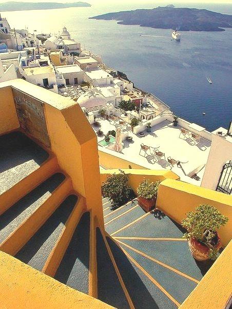Steps above Fira Harbour, Santorini, Greece