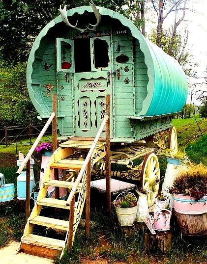 A gypsy caravan on display at Prinknash Bird and Deer Park in Gloucestershire, England