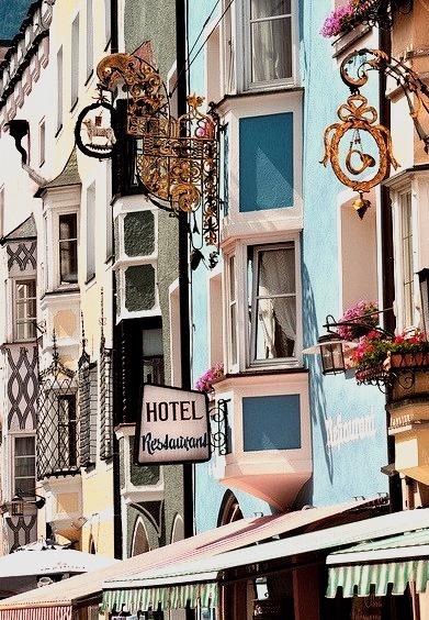 Colorful buildings in Vipiteno, Sudtirol, Italy