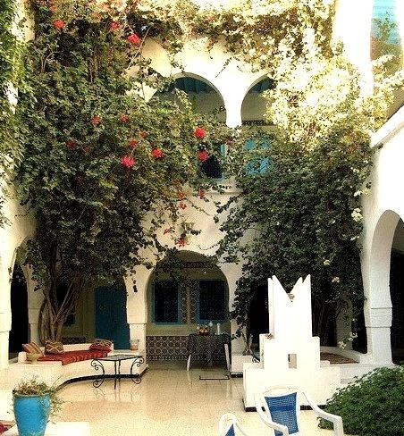 Hotel courtyard in Houmt Souk, Djerba Island, Tunisia