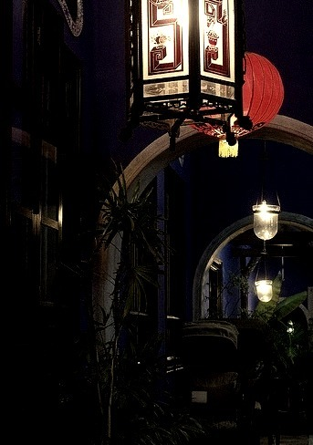 The Blue Mansion at night in Georgetown, Malaysia