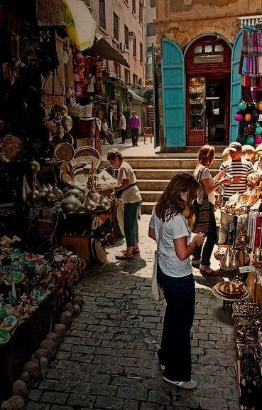 Shopping in the Khan el-Khalili Bazaar, Cairo, Egypt