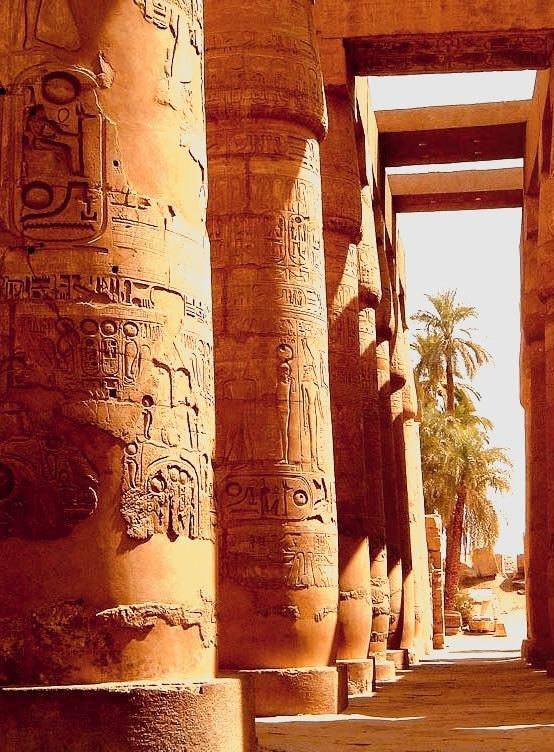 The ancient columns of Karnak Temple near Luxor, Egypt