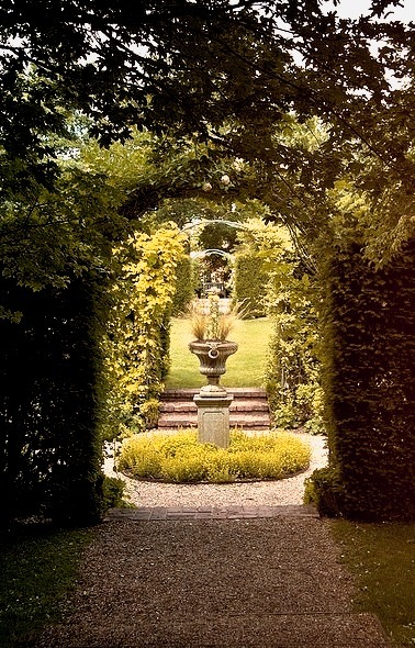 Secret garden in the grounds of Coughton Court in Warwickshire, England