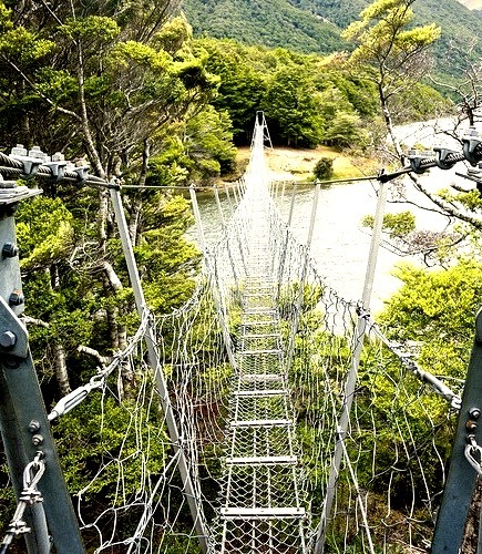 Swing bridge at North Mavora Lake in New Zealand